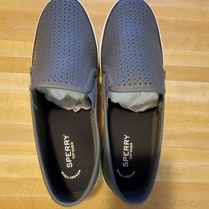 Sperry slip on leather shoes